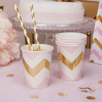 Pattern Works Pink Chevron Cups (8)
